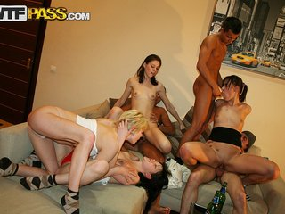 College fuck party with deep pounding in play