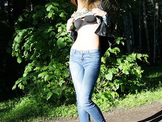 Hot amateur slut posing seductively in nature