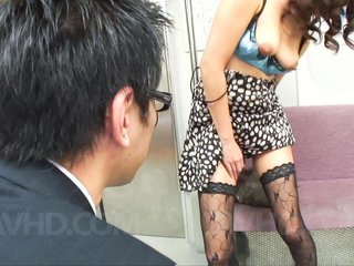 Yuu Shiraishi Asian in black stockings has slit..